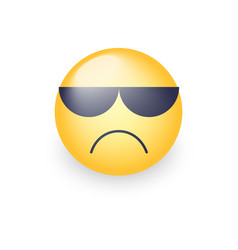 angry emoji face with sunglasses cute sad vector image