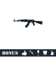 Assault rifle icon flat vector