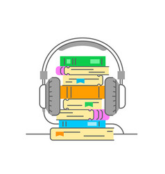 audiobook and headphones thin line vector image