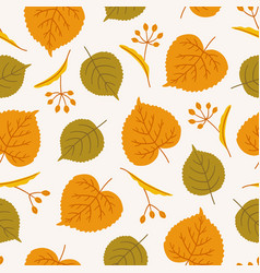 Autumn seamless pattern with linden leaves vector