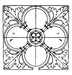 Bas-relief square panel is a 12th century design vector
