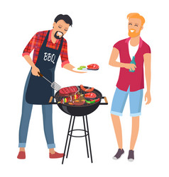 bbq cheaf with his friend lot of delicious food vector image