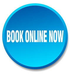 Book online now blue round flat isolated push vector