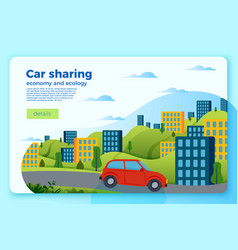 Bright car share ride banner template vector