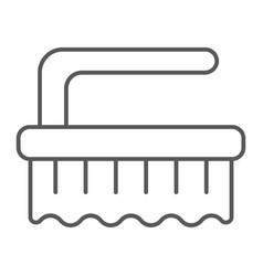 Brush thin line icon clean and wash scrub brush vector