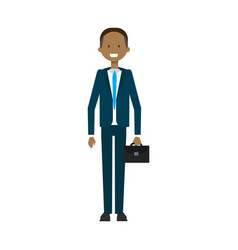 business man with suitcase full length avatar on vector image