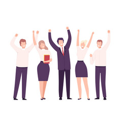 business people celebrating victory business team vector image
