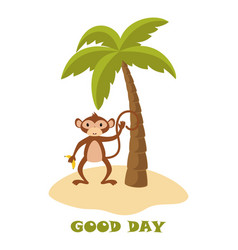 card with cute funny monkey vector image