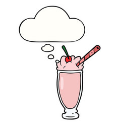 Cartoon milkshake and thought bubble vector