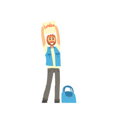 Cartoon traveler man hitchhiker holding banner vector