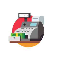 Cash register with banknotes and check vector