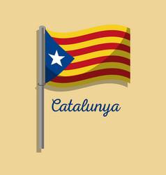 catalonia flag post waving nationalism symbol vector image