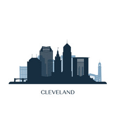 Cleveland skyline monochrome silhouette vector