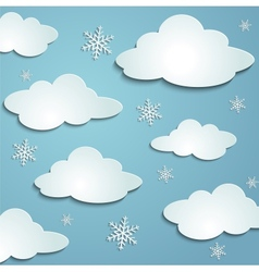 Clouds snowflakes vector