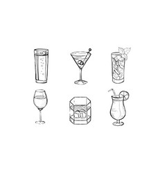 Cocktails and alcohol drinks set hand drawn vector
