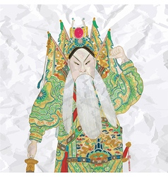 Colored vintage chinese opera figures vector