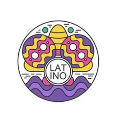 Creative round sticker with maracas and sombrero vector