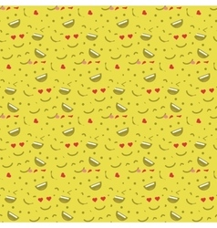Cute smiley face in love face seamless pattern vector image