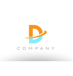 D orange blue logo icon alphabet design vector