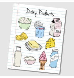 dairy products doodles lined paper colored vector image