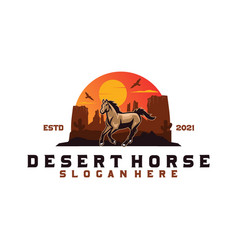 Desert horse logo vector