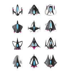 Different spaceships in flight vector image