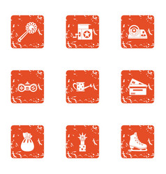 educational toy icons set grunge style vector image