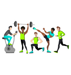 Fitness set with different men vector