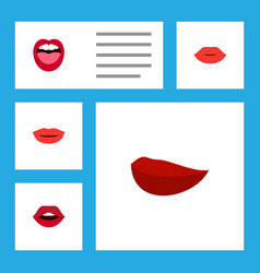 flat icon mouth set of tongue lipstick teeth and vector image
