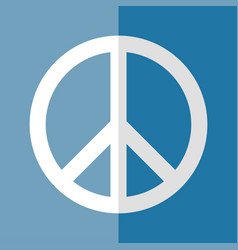 flat logo peace day white on blue vector image