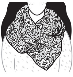 floral scarf on young woman black and white vector image