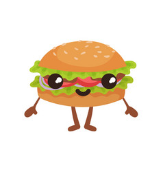 funny burger with smilling face cute fast food vector image