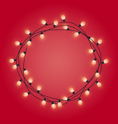 garland frame with glowing lamps decorative vector image