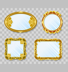 Gold decoration mirrors on transparent background vector
