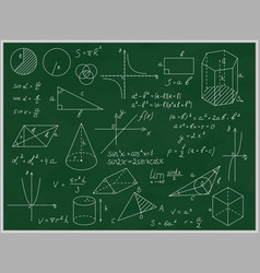 green blackboard mathematical with thin line vector image