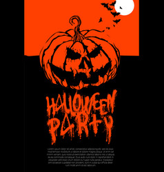 halloween pumpkin horror party poster vector image
