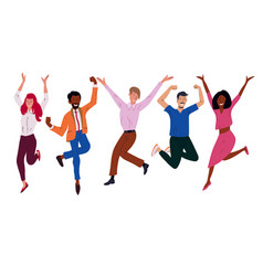 Happy business workers jumping celebrating success vector