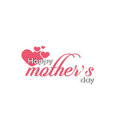 happy mothers day pink heart white background vec vector image