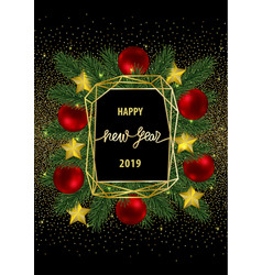 happy new year 2019 card with gold geometric frame vector image