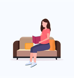 Happy pregnant woman sitting on couch and reading vector