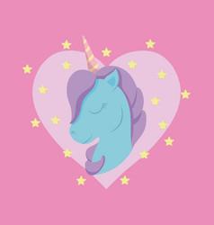 Head cute unicorn of fairy tale with heart vector