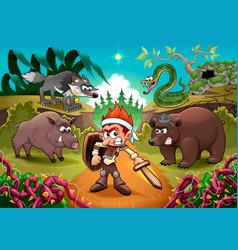 hero fighting against his enemies vector image