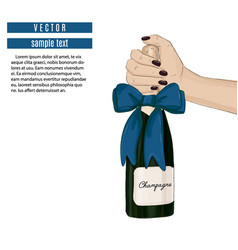 Holding champagne bottle with bow sparkled vector