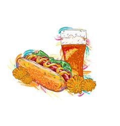 Hot dog with colorful splashes vector