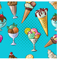ice cream seamless pattern different type n blue vector image