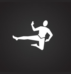 karate icon on black background vector image