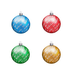 knitted christmas balls in various colors isolated vector image