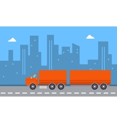 Landscape of container truck with city backgrounds vector image