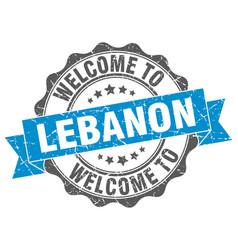lebanon round ribbon seal vector image vector image