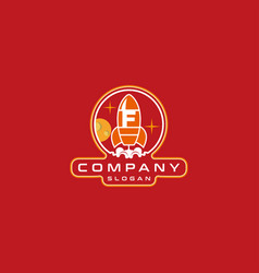 Letter f rocket logo design vector